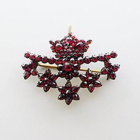 Rasperry Garnet Pin or Pendant - Art Deco