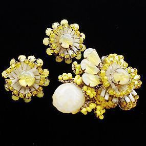 Miriam Haskell Vasoline Glass Brooch and Earrings