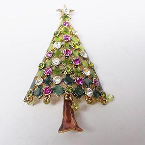 Large Multicolored Christmas Tree Brooch