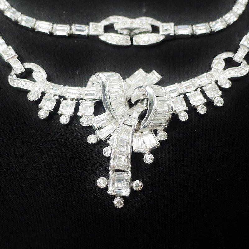 Mazer Bros Clear Rhinestone Necklace and Bracelet