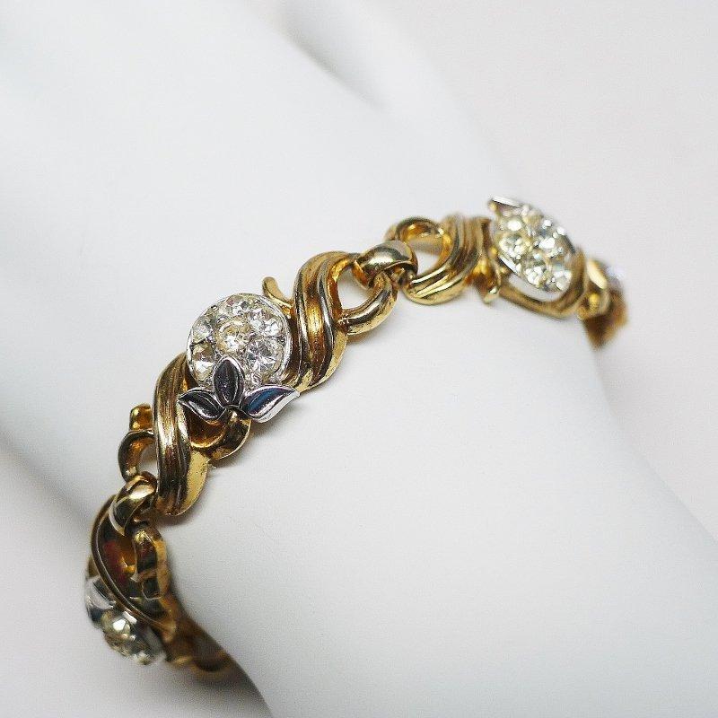 Trifari gold tone and rhinestone link bracelet