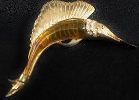 Applejuice Bakelite and Gold Metal Swordfish