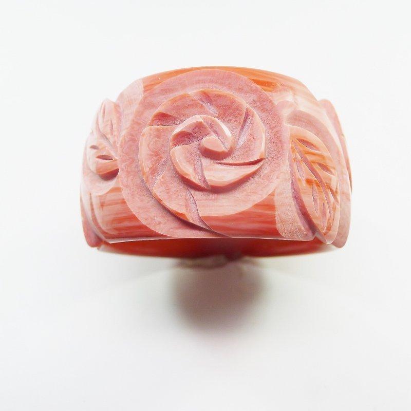 Wide Clear Resin Rose Colored Carved Bangle Bracelet