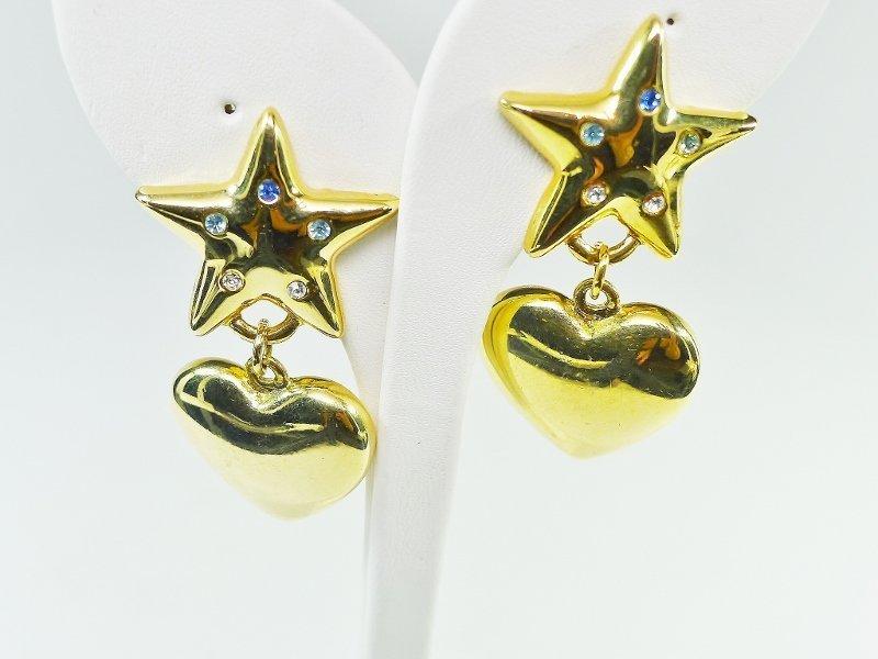 Heart, Star, and Rhinestone Clip Earrings