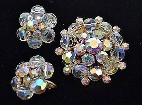 Sparkling Aurora Borealis Crystal Pin and Earrings
