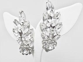 """Large Rhinestone Clip Earrings - 2"""" """"Wings"""""""