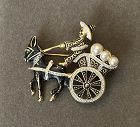 Spanish Toledo Donkey Card with Faux Pearls Brooch