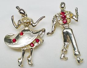 """""""Do-Si-Do"""" Jeweled Square Dancers Brooch"""