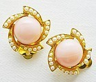 Pink and Faux Pearl Clip Earrings
