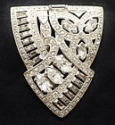 Art Deco Clear Rhinestone Dress Clip