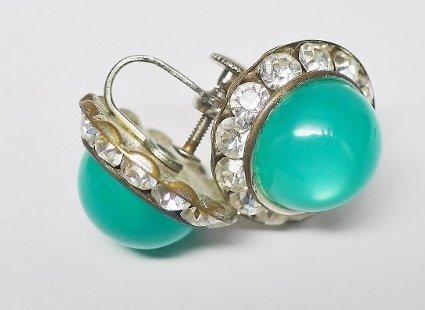 Pretty Green Moonstone Lucite Earrings - Screw Backs
