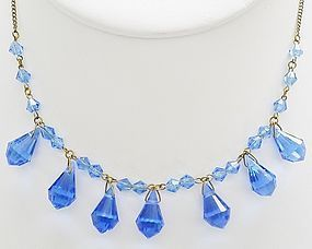 Delicate Art Deco Blue Glass Necklace