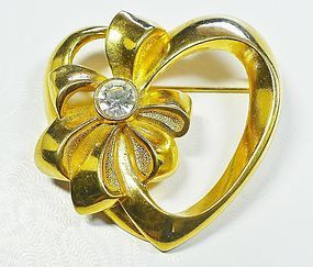 Avon Heavy Heart Brooch with Rhinestone
