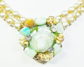 Glass Pearls with a Shell Pendant - 1940s