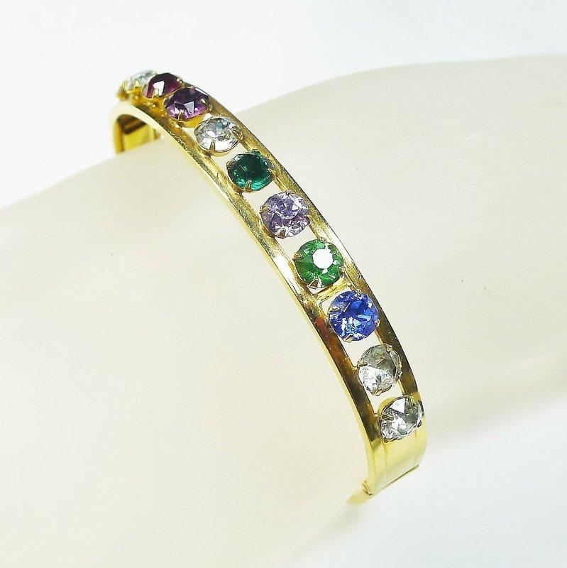 Multicolored Rhinestone Bangle Bracelet