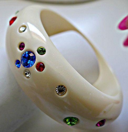 Vintage Hard Plastic Bangle Bracelet with Rhinestones