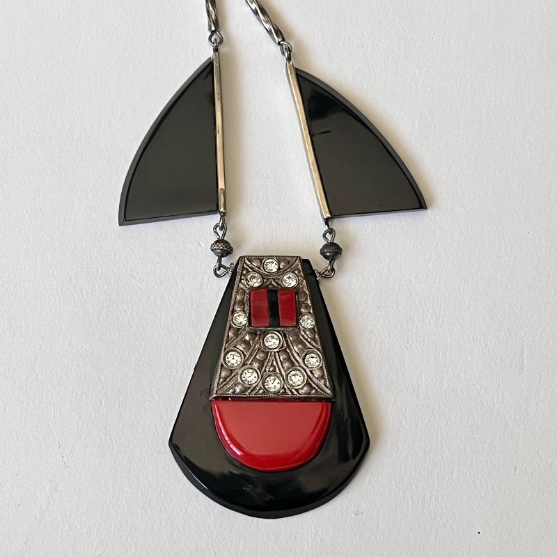 Vintage Jakob Bengel Galalith and Chrome Necklace