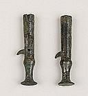 Pair of Zhou Period Bronze Arrow End Parasol Tip