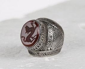 Silver Alloy Carnelian Intaglio Ring Turkmenistan