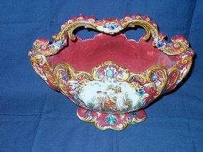 Italian Majolica Hand Painted Basket