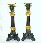 Louis Philippe Patinated & Gilt Bronze Candlesticks