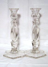 Pair of Tall Hexagonal Glass Candlesticks