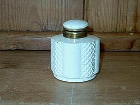 White Ceramic Inkwell; Brass Mount