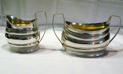 Georgian Silver Sugar and Creamer; Robert and David Hennell, 1799