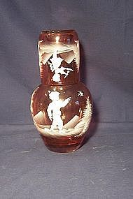 Mary Gregory Tumble Up Set; Decanter and Tumbler