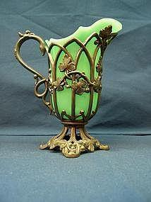 Broadhead & Atkins Green Opaline Creamer