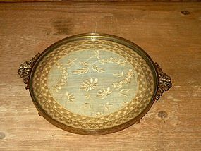 Bronze Dresser Tray with Lace Doily