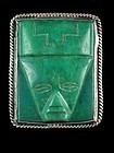 FRED DAVIS SILVER & CARVED GREEN ONYX PIN C. 1920-30'S
