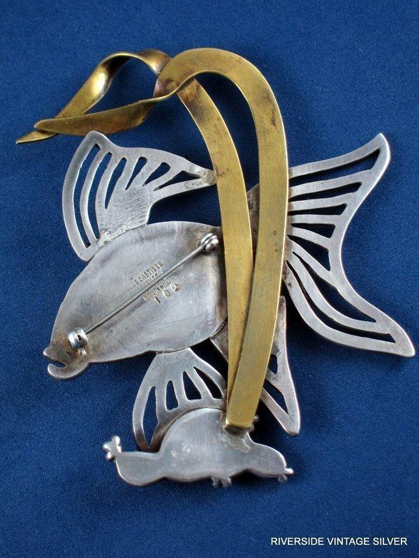 LOS CASTILLO ANGELFISH PIN SILVER & COPPER