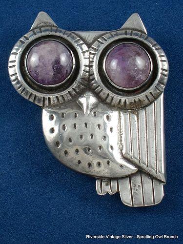 WILLIAM SPRATLING SILVER & AMETHYST OWL PIN