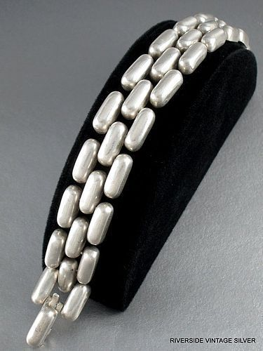 William Spratling Sterling Silver Brick Link Bracelet Vintage 1940's