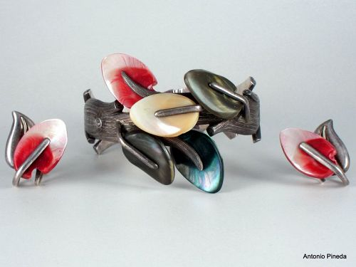 ANTONIO Pineda Abalone Shell & Silver Clamper Bracelet & Earrings