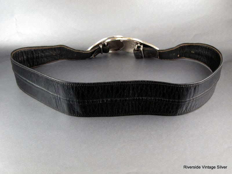 ANTONIO Pineda 970 Silver Buckle & Leather Belt
