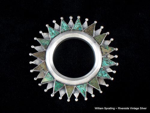 William SPRATLING  Pendant or Brooch Silver & Chrysocolla