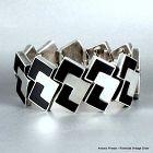 """Antonio Pineda Onyx & Silver Bracelet 1 1/2"""" W."""