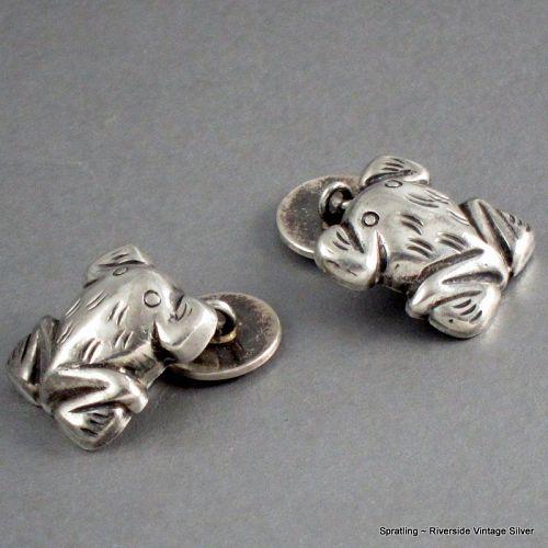 William Spratling Frog Cufflinks Sterling Silver Vintage 1940's