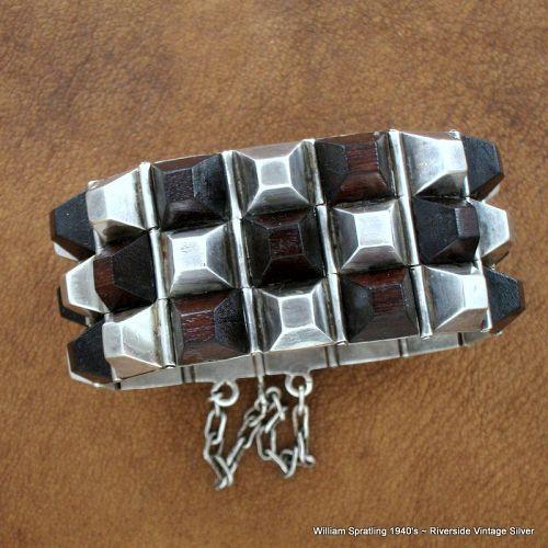 William Spratling Pyramid Bracelet Rose Wood and Sterling Silver 1940