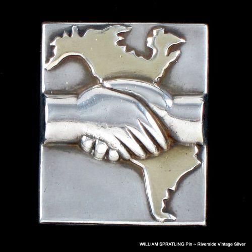 William Spratling Continental Solidarity Pin Silver & Bronze