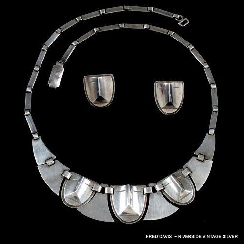 Fred Davis Necklace & Earrings ~  Art Deco Mask & Shields 1930's