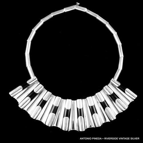 Antonio Pineda Black Obsidian & Sterling Silver Necklace c.1948