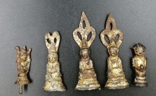A Group of Gilt Burmese Figures of 18th Century.