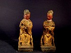 A Pair of Wood Figures of Qing Dynasty