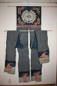 Edo tsutsugaki horse Cover textile Indigo dye hand-spun