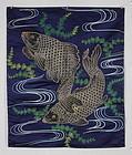 Edo Silk Embroidery Indigo Fukusa Big Carp
