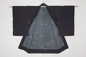 Edo Cotton Stripe Grain of wood Katazome Thick Hand-spun Haori Indigo