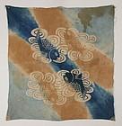Edo Katazome Hikizome Izumo Indigo Cotton Furosiki Thick